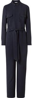 Ganni Clark Pinstriped Crepe Jumpsuit - Midnight blue
