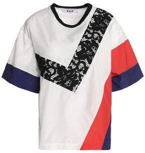 MSGM Corded Lace-Paneled Shell T-Shirt
