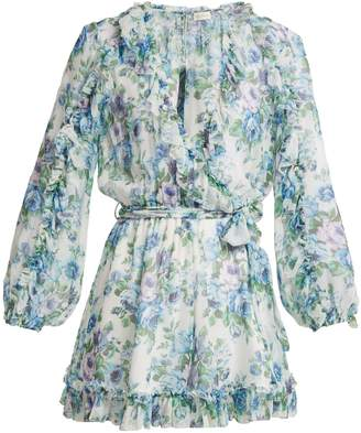 Zimmermann Breeze ruffled floral-print silk playsuit