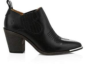 Frye Women's Faye Stitched Point Toe Leather Ankle Boots
