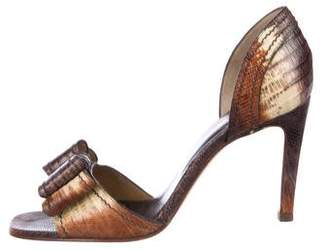 Valentino Snakeskin Mid-Heel Sandals