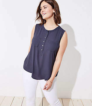 LOFT Plus Henley Pocket Mixed Media Shell
