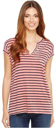 Allen Allen Stripe Split-Neck Tee Women's T Shirt