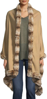 Neiman Marcus Faux-Fur Trim Woven Wrap