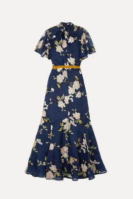 Erdem Celeste Ruffled Embroidered Silk-organza Gown - Navy