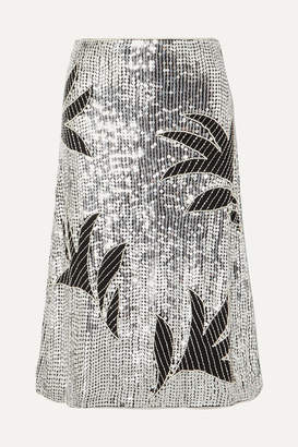 Dodo Bar Or Clara Embellished Sequined Tulle Skirt - Silver