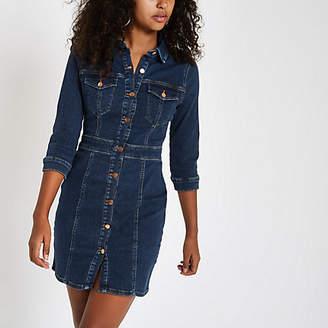 River Island Dark blue denim fitted shirt dress