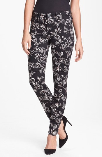 Marc by Marc Jacobs Tulip Print Skinny Stretch Jeans (Black Multi Rae Rae)