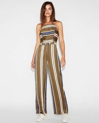 Express Striped Cut-Out Back Culotte Jumpsuit