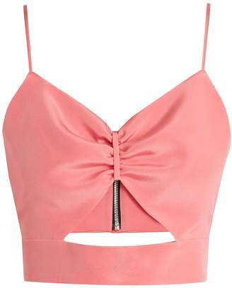 RACIL Sexy cut-out silk cropped top