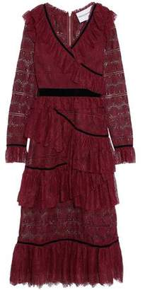 Perseverance Wrap-Effect Velvet-Trimmed Tiered Lace Midi Dress
