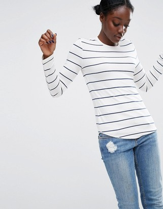 ASOS Crew Neck T-Shirt in Stripe with Long Sleeve $18.50 thestylecure.com