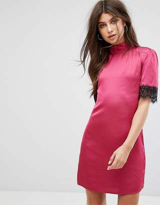 Fashion Union High Neck Fitted Dress With Lace Trim In Satin