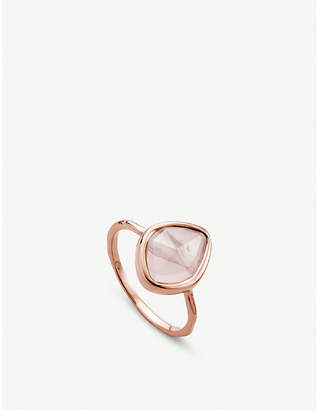 Monica Vinader Siren quartz-gemstone 18ct rose-gold and silver small ring