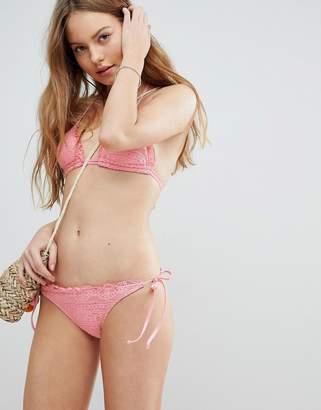 Asos DESIGN Mix and Match Crochet Tie Side Brazillian Bikini Bottom