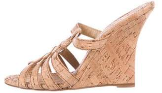Manolo Blahnik Cork Wedge Slide Sandals