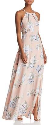 Aqua Lace-Back Floral Gown - 100% Exclusive
