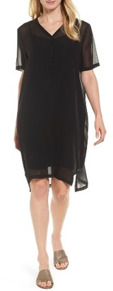 Women's Eileen Fisher Silk V-Neck Shift Dress $338 thestylecure.com