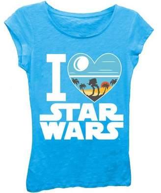 Star Wars Girls' 'I Love ' Short Puff Sleeve Graphic T-Shirt With Crystalline Print