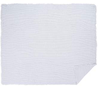 Ashton & Willow Marshmallow White Farmhouse Bedding Aurora Cotton Pre-Washed Ruched Ruffle Voile Solid Color King Quilt