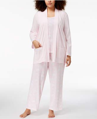 Charter Club Plus Size 3-Piece Cotton Pajama Set, Created for Macy's