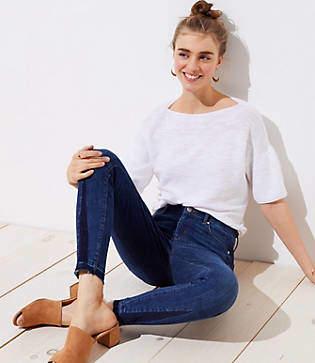 LOFT Petite Modern Godet Cuff Skinny Jeans in Dark Stonewash