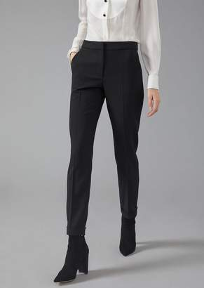 Giorgio Armani Regular-Fit Stretch Wool Trousers With Turn-Ups