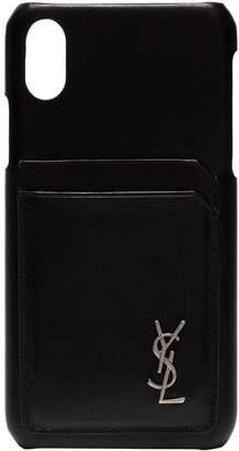 Saint Laurent iphone 10 leather case black
