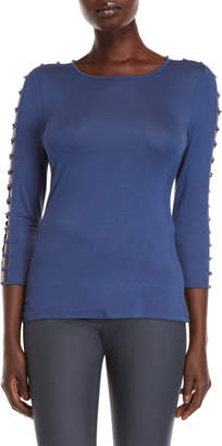Cable & Gauge Three-Quarter Ladder Sleeve Top
