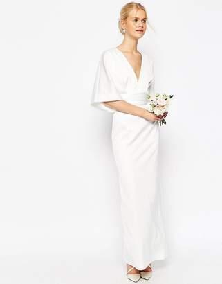 Asos Design BRIDAL Kimono Deep V Fishtail Maxi Dress