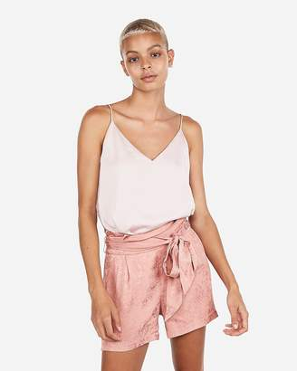Express High Waisted Jacquard Pleated Sash Tie Waist Shorts