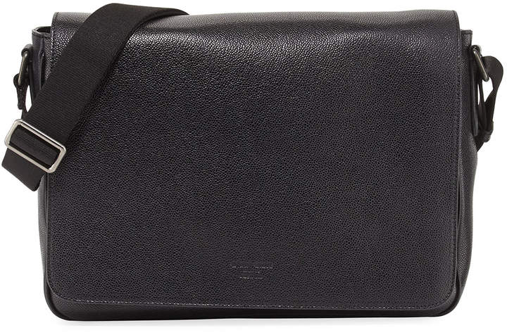 Giorgio Armani Caviar Leather Messenger Bag, Black
