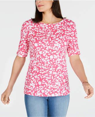 Karen Scott Printed Elbow-Sleeve Top, Created for Macy's