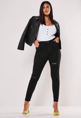 Missguided Plus Size Black High Waisted Slash Distressed Skinny Jeans