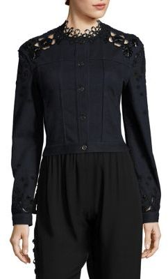 Elie Tahari Esperanza Embellished Denim & Lace Jacket $398 thestylecure.com