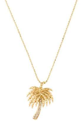 Sydney Evan 14K Diamond Palm Tree Pendant Necklace yellow 14K Diamond Palm Tree Pendant Necklace