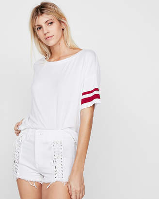 Express One Eleven Off The Shoulder Striped Dolman Sleeve Tee