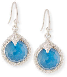 Armenta 12mm New World Milky Blue Quartz Triplet Round Drop Earrings with Diamonds