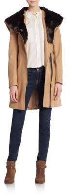 Belted Faux Fur-Trimmed Coat $400 thestylecure.com