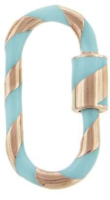 Marla Aaron Medium Turquoise Enamel Lock - Rose Gold