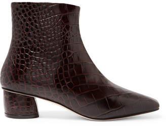 LOQ Matea Croc-effect Leather Ankle Boots
