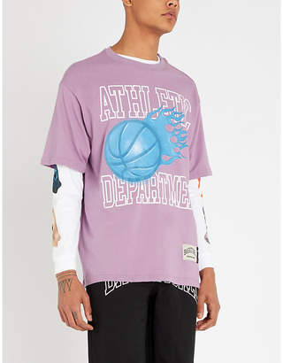 BASKETBALL SKATEBOARDS Logo-print cotton-jersey T-shirt