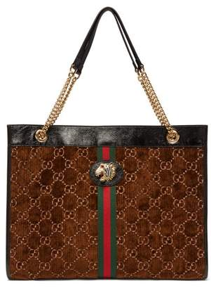 Gucci Rajah Gg Velvet And Leather Tote Bag - Womens - Brown Multi
