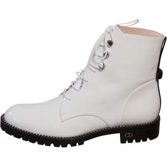Christian Dior White Patent leather Ankle boots