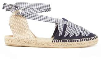 Castaner Jean Gingham Lace Canvas Espadrilles - Womens - Navy