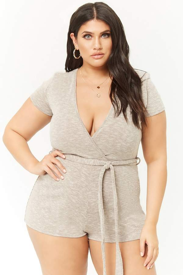 Plus Size Marled Ribbed Surplice Romper