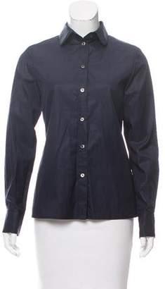 Black Fleece Silk Button-Up Top