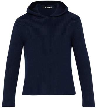Jacquemus Hooded Knit Sweater - Mens - Navy