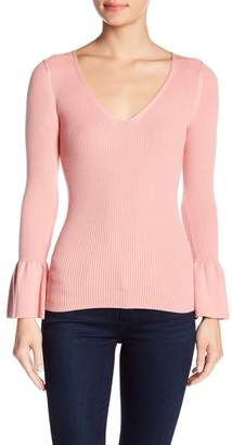 Minnie Rose Ribbed Bell Sleeve Sweater