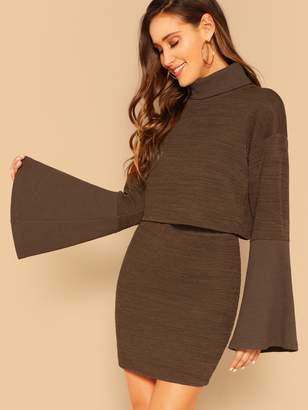 Shein Rolled Neck Exaggerate Bell Sleeve Top and Skirt Set